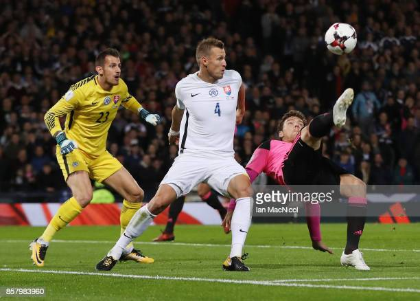 Chris Martin of Scotland is watched by Jan Durica of Slovakia during the FIFA 2018 World Cup Group F Qualifier between Scotland and Slovakia at...
