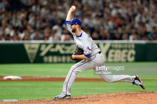 Chris Martin of the Texas Rangers pitches during the Japan AllStar Series game against Team Japan at the Tokyo Dome on Sunday November 11 2018 in...