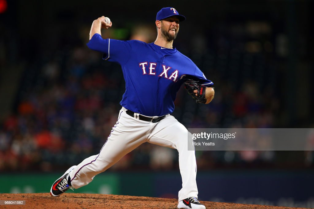 Chris Martin #31 of the Texas Rangers throws in the eight inning against the Oakland Athletics at Globe Life Park in Arlington on June 5, 2018 in Arlington, Texas.