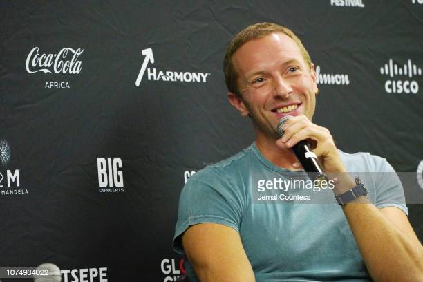 Chris Martin participates in a panel discussion ahead of Global Citizen Festival: Mandela 100 at Sandton Convention Center on November 30, 2018 in...