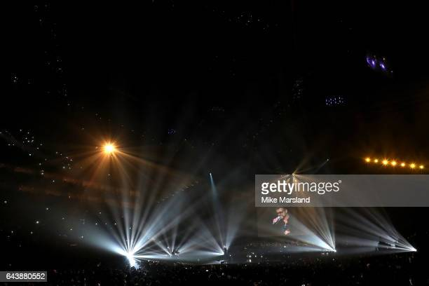 Chris Martin performs on stage at The BRIT Awards 2017 at The O2 Arena on February 22 2017 in London England