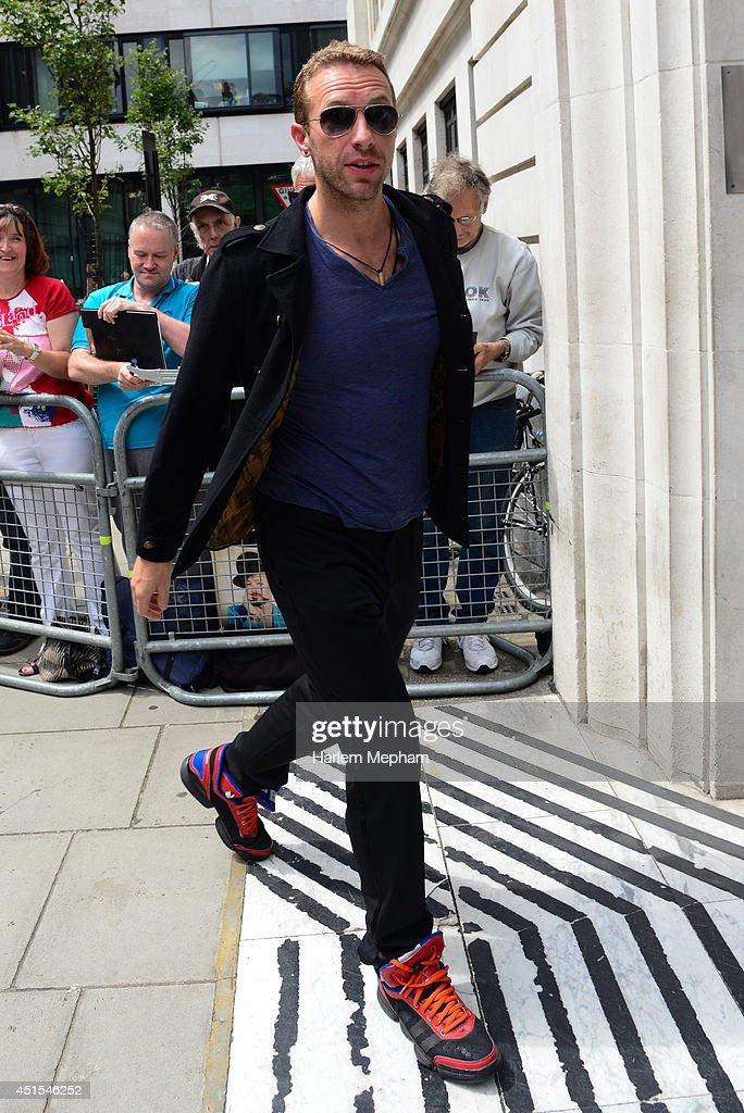 Chris Martin sighted arriving at BBC Radio Two on July 1, 2014 in London, England.