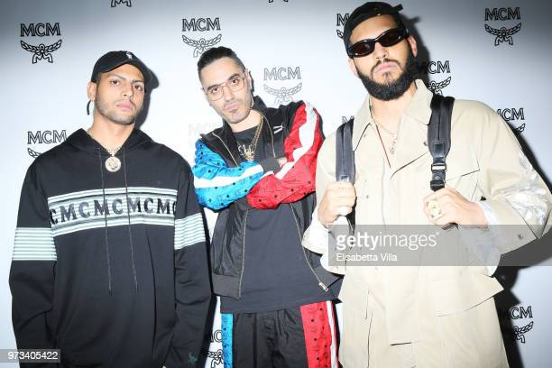 Chris Martinez Marracash and Steve Martinez attend the MCM Fashion Show Spring/Summer 2019 during the 94th Pitti Immagine Uomo on June 13 2018 in...