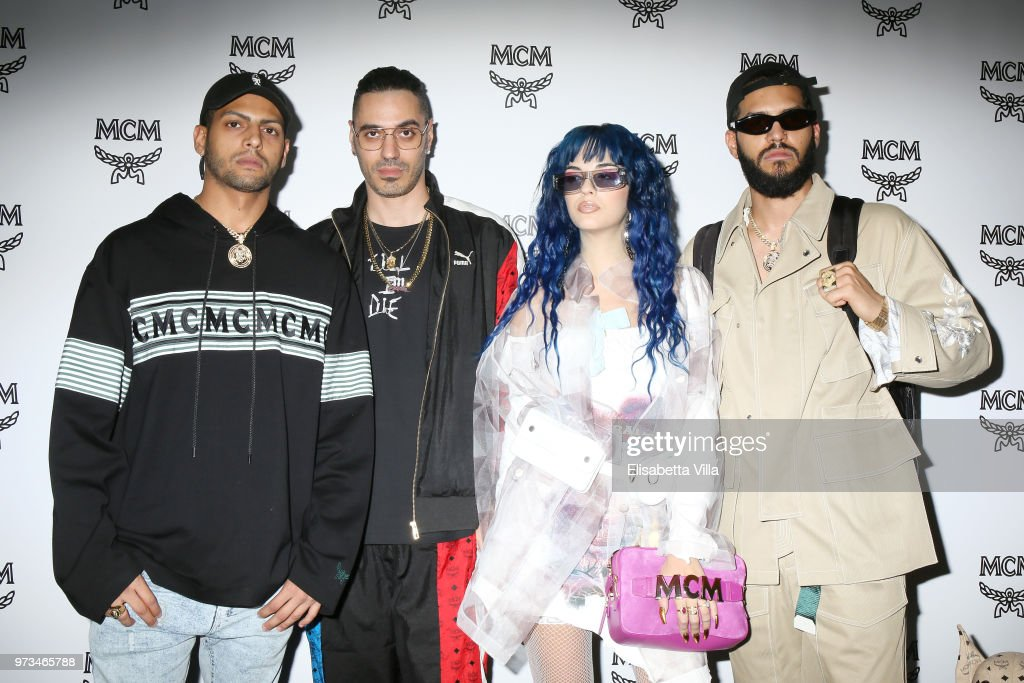Chris Martinez, Marracash, Sita Abellan and Steve Martinez attend the MCM Fashion Show Spring/Summer 2019 during the 94th Pitti Immagine Uomo on June 13, 2018 in Florence, Italy.