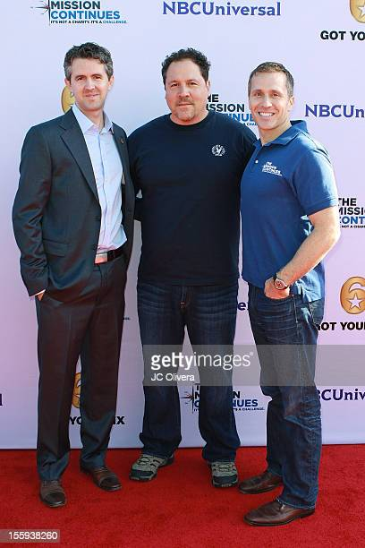Chris Marvin, Jon Favreau and Eric Greitens attend Got Your 6 and The Mission Continues Service Project Event at The Globe Theater inside Universal...