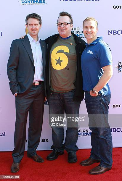 Chris Marvin, Tom Arnold and Eric Greitens attend Got Your 6 and The Mission Continues Service Project Event at The Globe Theater inside Universal...