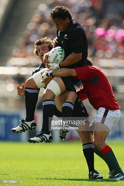 Chris Masoe of New Zealand takes the catch during match fourteen of the Rugby World Cup 2007 between New Zealand and Portugal at the Gerland Stadium...
