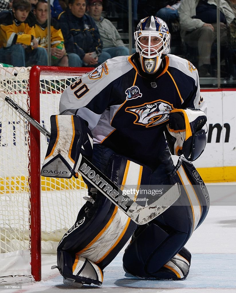 Chris Mason #30 of the Nashville Predators minds the net against the St. Louis Blues on January 21, 2008 at the Sommet Center in Nashville, Tennessee.