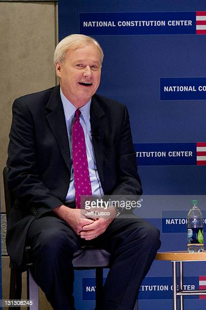 Chris Matthews, host of MSNBC's Hardball, discusses his new book 'Jack Kennedy: Elusive Hero' at the National Constitution Center on November 3, 2011...