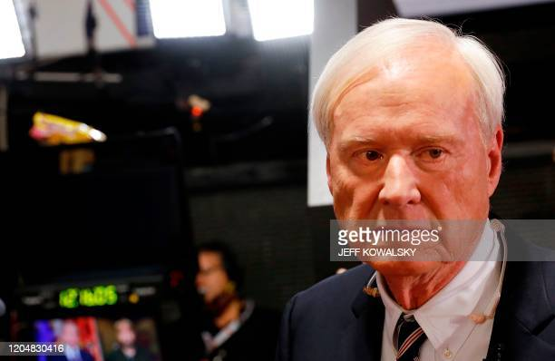 Chris Matthews host of MSNBC's political show Hardball prepares for interviews in the spin room after the Democratic Presidential Debate at the Fox...