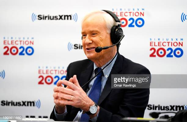 Chris Matthews of MSNBC reacts while talking with Sirius XM Press Pool host Julie Mason about the 2020 New Hampshire Democratic Primary in the...