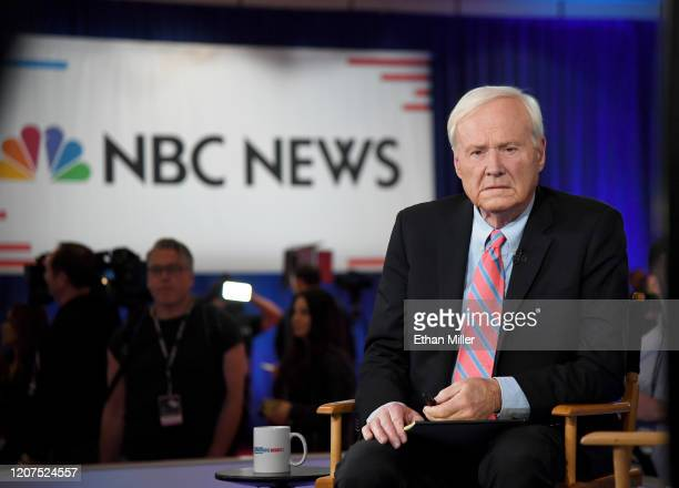 Chris Matthews of MSNBC waits to go on the air inside the spin room at Bally's Las Vegas Hotel Casino after the Democratic presidential primary...