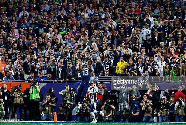 Chris Matthews of the Seattle Seahawks catches a touchdown pass over Logan Ryan of the New England Patriots in the second quarter during Super Bowl...