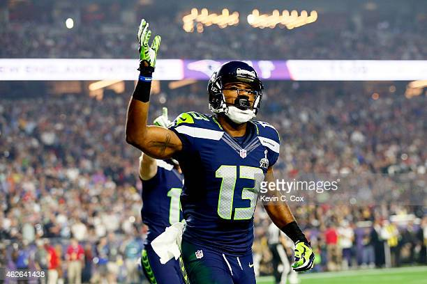 Chris Matthews of the Seattle Seahawks reacts in the third quarter against New England Patriots during Super Bowl XLIX at University of Phoenix...
