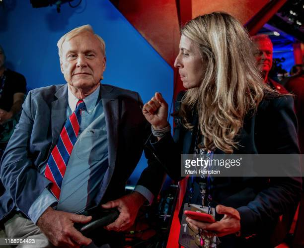 Chris Matthews the host of MSNBC's Hardball talk show gets some last minute direction from Deborah Turness the President of NBC news at the broadcast...