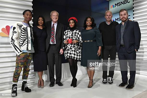 MATTHEWS Chris Matthews with the cast of HIDDEN FIGURES Pictured Pharrell Williams Taraji P Henson Chris Matthews Janelle Monae Octavia Spencer Kevin...