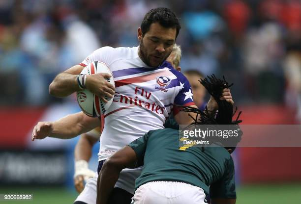 Chris Mattina of the United States grabs the hair of Branco du Preez of South Africa during the bronze medal game at Canada Sevens the Sixth round of...