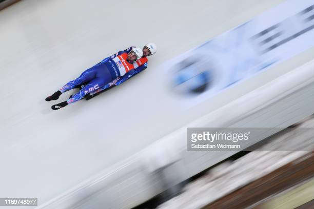 Chris Mazdzer and Jayson Terdiman of USA compete in the Relay competition during the FIL Luge World Cup at OlympiaRodelbahn on November 24 2019 in...