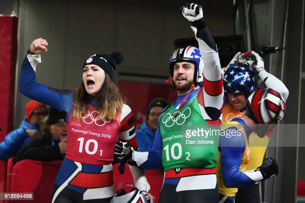 Chris Mazdzer and Summer Britcher of the United States reacts during the Luge Team Relay on day six of the PyeongChang 2018 Winter Olympic Games at...