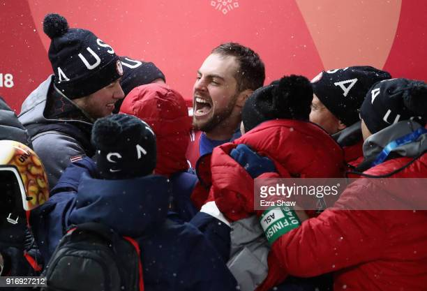 Chris Mazdzer of the United States celebrates after he won silver in the Luge Men's Singles on day two of the PyeongChang 2018 Winter Olympic Games...