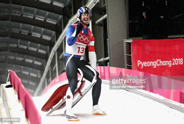 Chris Mazdzer of the United States celebrates winning the silver medal following run 4 during the Luge Men's Singles on day two of the PyeongChang...