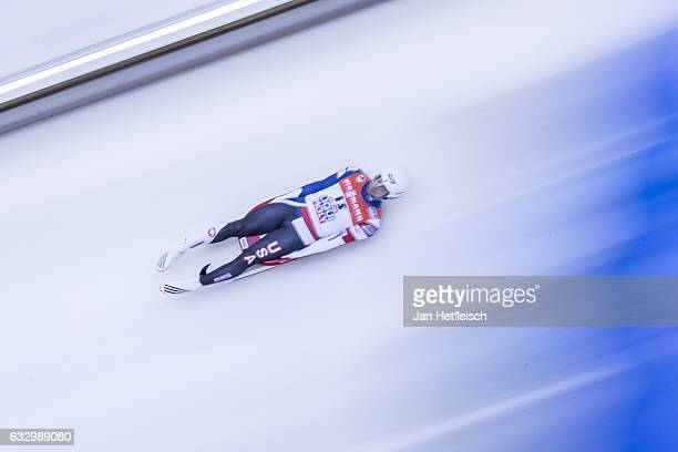Chris Mazdzer of the United States competes in the first heat of the Men's Luge competition during the third day of the FILWorld Championships at...