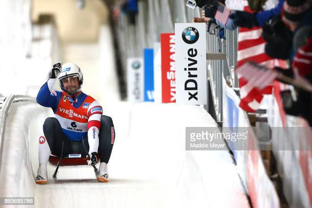 Chris Mazdzer of the United States completes his second run in the Men's competition of the Viessmann FIL Luge World Cup at Lake Placid Olympic...
