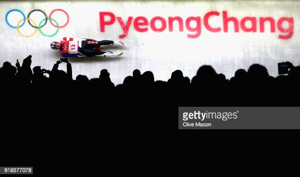 Chris Mazdzer of the United States in action during the Men's Singles Luge on day one of the PyeongChang 2018 Winter Olympic Games at Olympic Sliding...