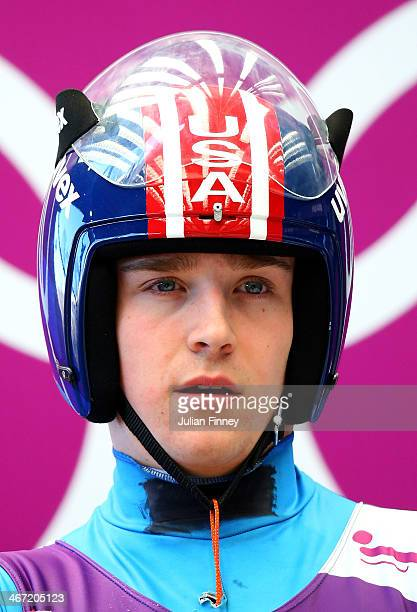 Chris Mazdzer of the United States prepares to make a run during the men's luge training session ahead of the Sochi 2014 Winter Olympics at the Sanki...