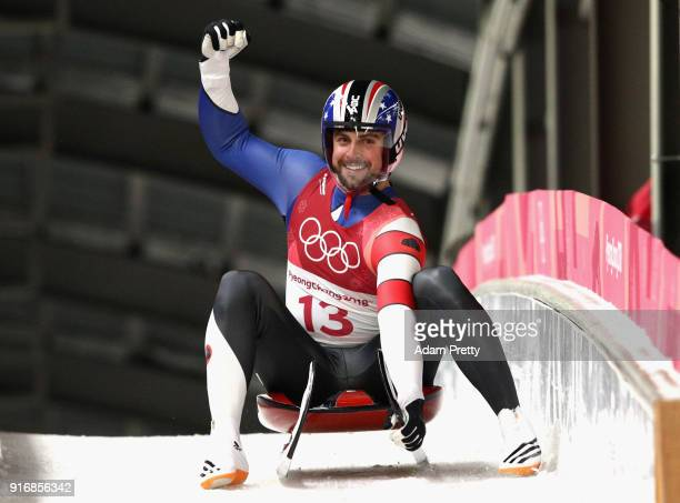 Chris Mazdzer of the United States reacts following run 3 during the Luge Men's Singles on day two of the PyeongChang 2018 Winter Olympic Games at...