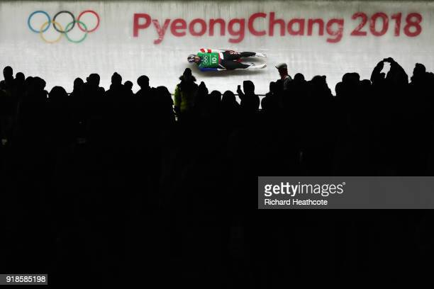 Chris Mazdzer of the United States slides during the Luge Team Relay on day six of the PyeongChang 2018 Winter Olympic Games at Olympic Sliding...