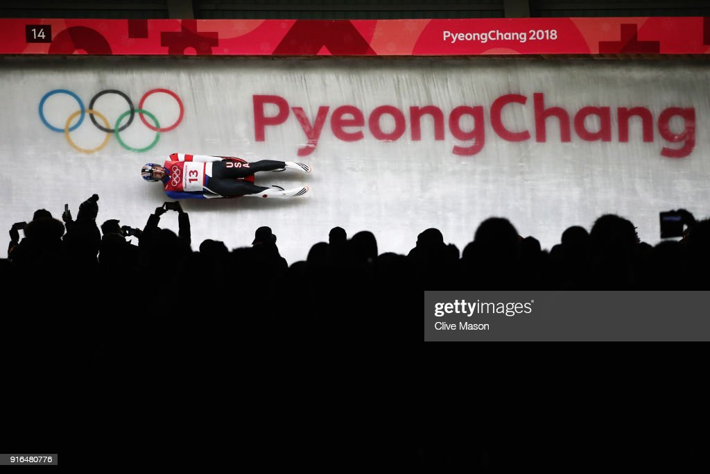 Chris Mazdzer of the United States slides during the Men's Singles Luge on day one of the PyeongChang 2018 Winter Olympic Games at Olympic Sliding Centre on February 10, 2018 in Pyeongchang-gun, South Korea.