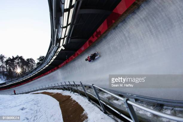 Chris Mazdzer of the United States slides in a training session for the Men's Luge during previews ahead of the PyeongChang 2018 Winter Olympic Games...