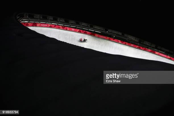 Chris Mazdzer of the United States slides in run 3 during the Luge Men's Singles on day two of the PyeongChang 2018 Winter Olympic Games at Olympic...
