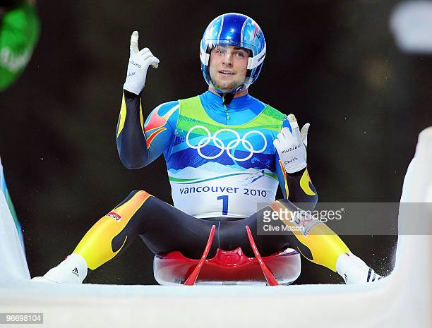 Chris Mazdzer of the USA after finishing the final run of the men's luge singles final on day 3 of the 2010 Winter Olympics at Whistler Sliding...