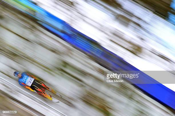 Chris Mazdzer of United States competes in the men's luge singles training during the Luge Men's Singles on day 2 of the 2010 Winter Olympics at...