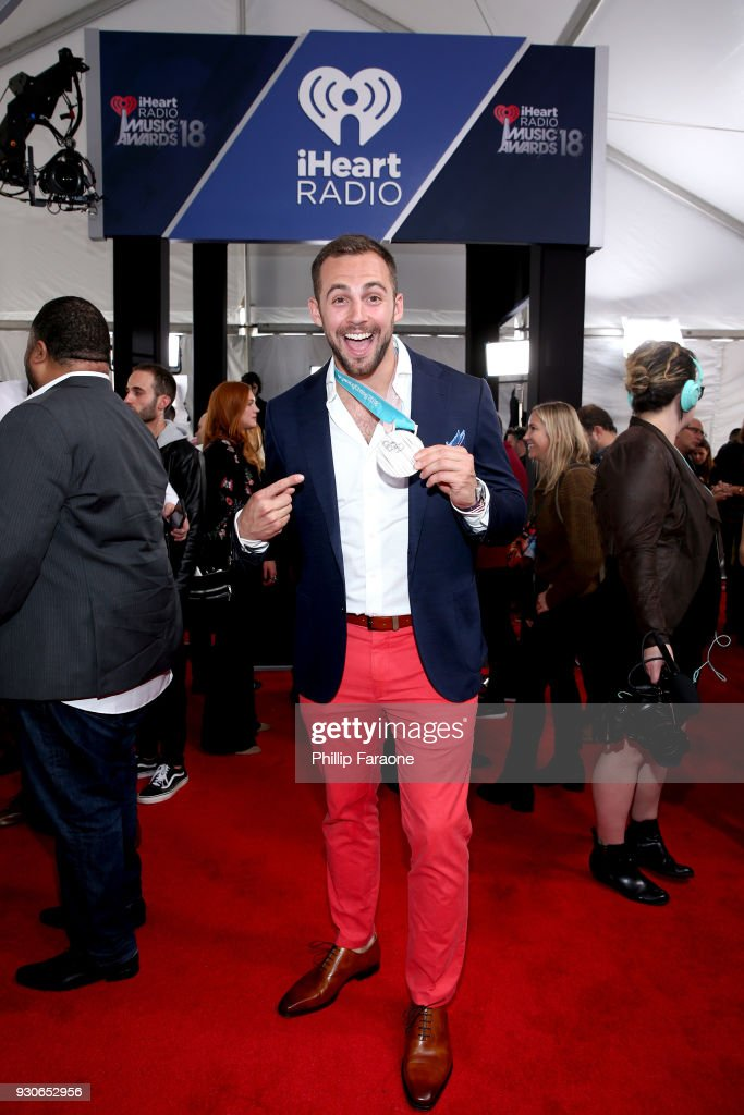 Chris Mazdzer poses in the press room during the 2018 iHeartRadio Music Awards which broadcasted live on TBS, TNT, and truTV at The Forum on March 11, 2018 in Inglewood, California.