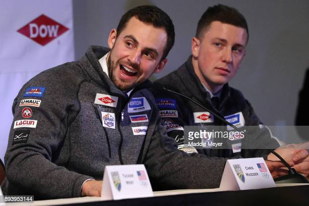 Chris Mazdzer speaks to fans during the Ice Ball to honor the nominees to the USA Olympic team at the Conference Center at Lake Placid on December 16...