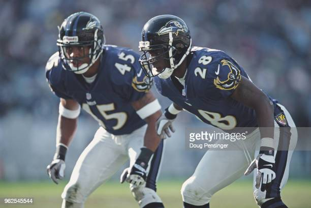 Chris McAlister Defensive Back for the Baltimore Ravens with team mate Corey Harris during the American Football Conference Central game against the...