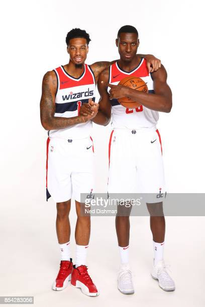 Chris McCullough and Ian Mahinmi of the Washington Wizards pose for a portrait during Media Day on September 25 2017 at Capital One Center in...