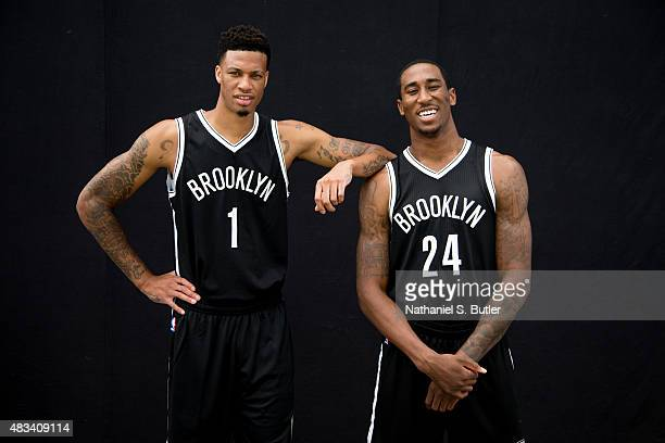 Chris McCullough and Rondae HollisJefferson of the Brooklyn Nets pose for a photo during the 2015 NBA Rookie Shoot on August 8 2015 at the Madison...