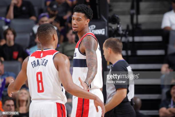 Chris McCullough and Tim Frazier of the Washington Wizards talk during the game against the Sacramento Kings on October 29 2017 at Golden 1 Center in...