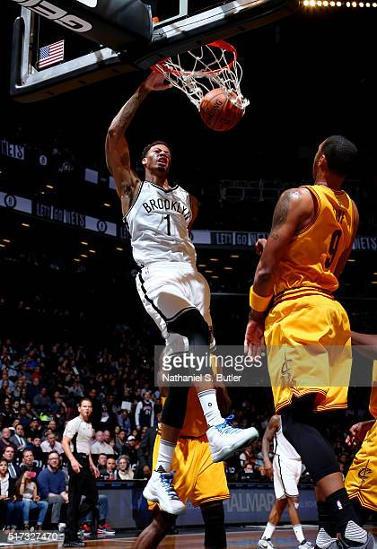 Chris McCullough of the Brooklyn Nets dunks against the Cleveland Cavaliers during the game on March 24 2016 at Barclays Center in Brooklyn New York...
