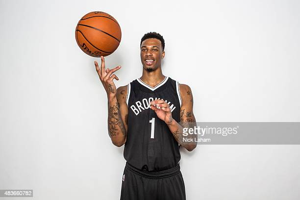 Chris McCullough of the Brooklyn Nets poses for a portrait during the 2015 NBA rookie photo shoot on August 8 2015 at the Madison Square Garden...