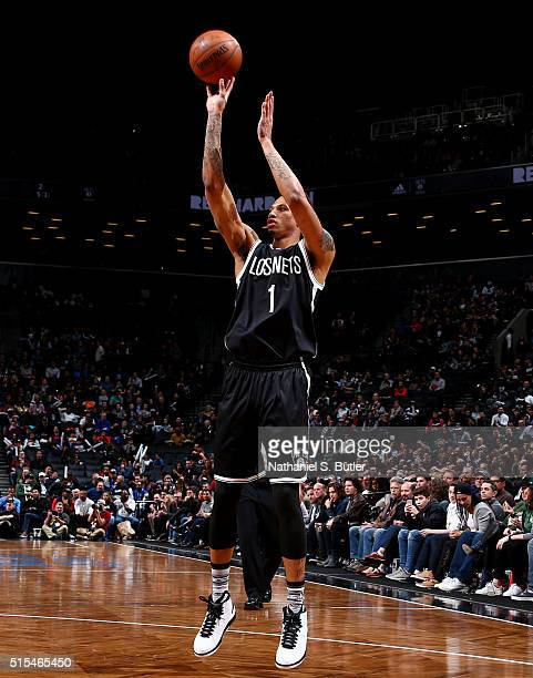 Chris McCullough of the Brooklyn Nets shoots against the Milwaukee Bucks on March 13 2016 at Barclays Center in the Brooklyn borough of New York City...