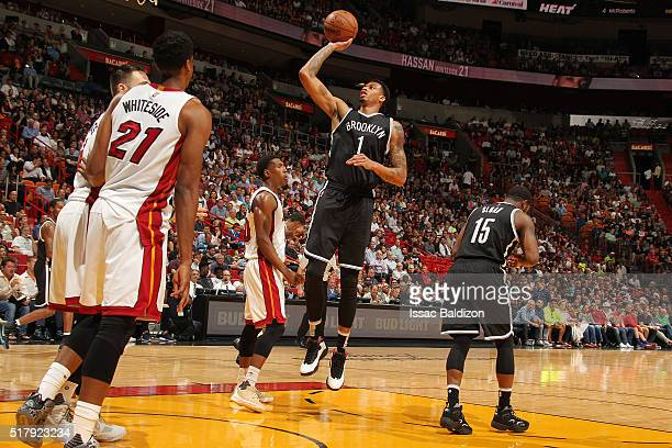 Chris McCullough of the Brooklyn Nets shoots the ball against the Miami Heat on March 28 2016 at American Airlines Arena in Miami Florida NOTE TO...