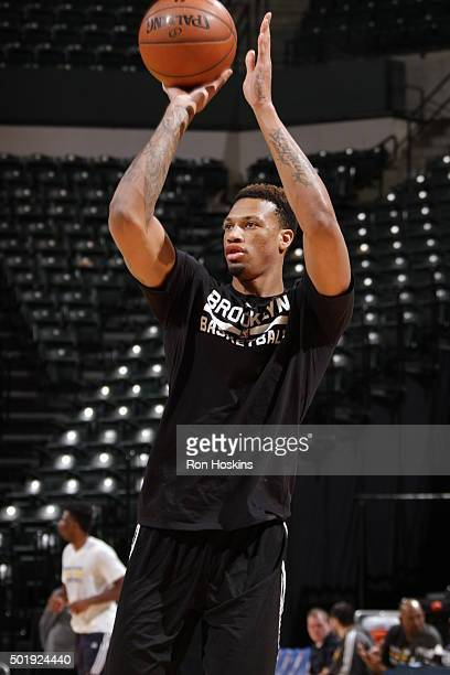Chris McCullough of the Brooklyn Nets warms up before the game against the Indiana Pacers on December 18 2015 at Bankers Life Fieldhouse in...