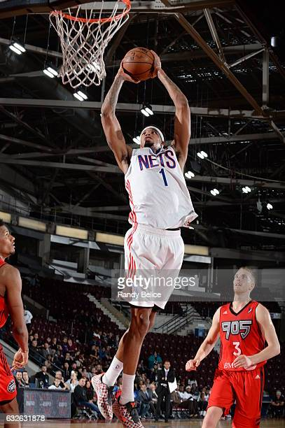 Chris McCullough of the Long Island Nets goes up for the shot during the game against the Raptors 905 as part of 2017 NBA DLeague Showcase at the...