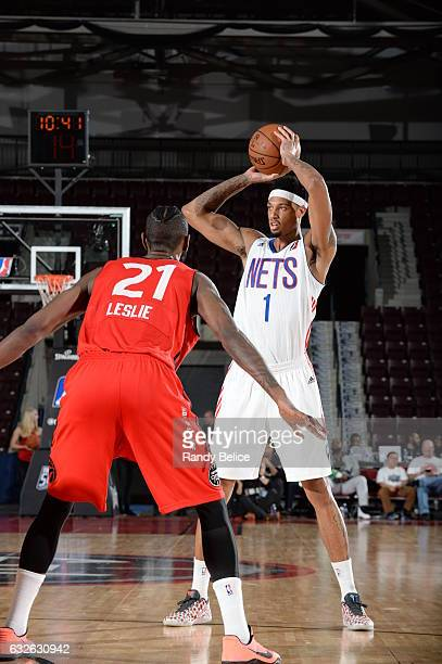 Chris McCullough of the Long Island Nets looks to pass the ball over CJ Leslie of the Raptors 905 as part of 2017 NBA DLeague Showcase at the Hershey...