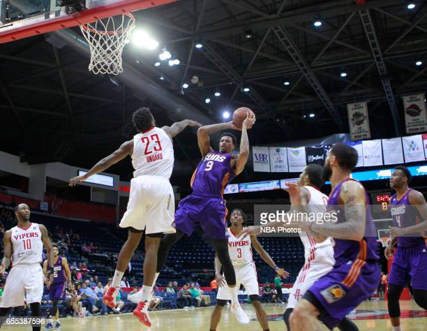Chris McCullough of the Northern Arizona Suns shoots the ball over Chinanu Onuaku of the Rio Grande Valley Vipers at the State Farm Arena March 19...